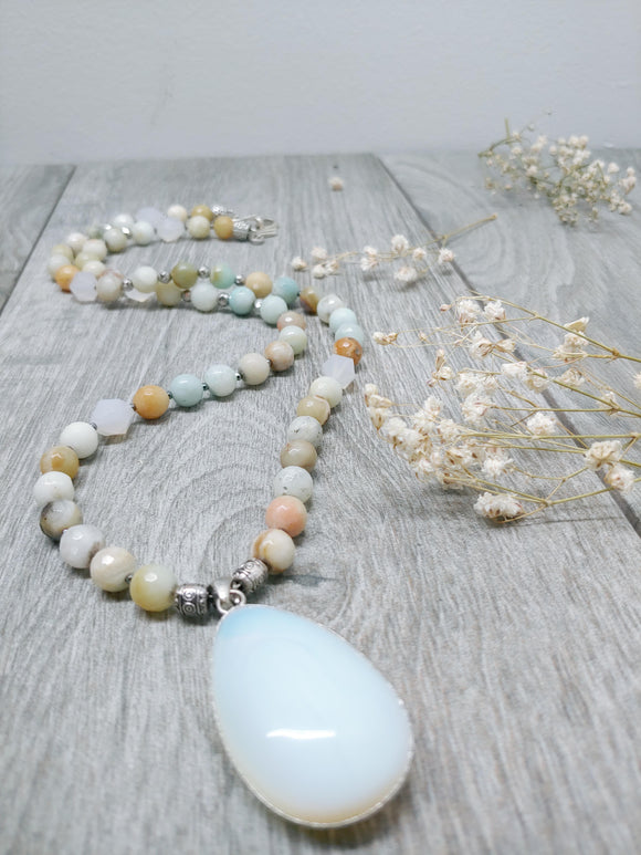 Mala Style Amazonite and Opalite Pendant 29.5