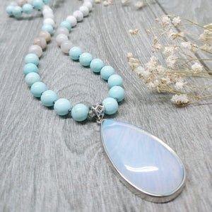 "Mala Style Turquoise, Crazy White Agate with Opalite Pendant 29.5"" Necklace"