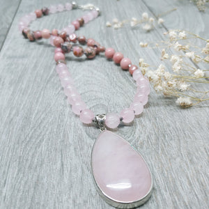 "Mala Style Rhodonite with Rose Quartz Pendant 29.5"" Necklace"