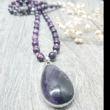 "Mala Lepidolite and Amethyst Pendant 26.5"" Necklace"