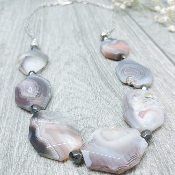 Gemstone Necklace - Bonnie Henry Style, Botswana Agate, Agate Necklace