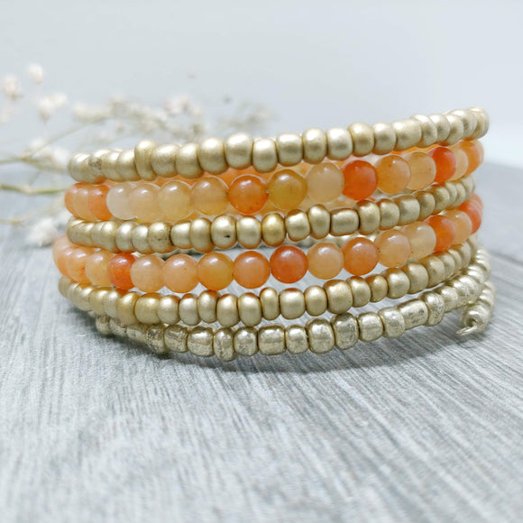 Carnelian and Matte Gold Glass Armilla Wrap Bracelet