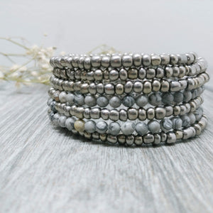 Netstone and Silver Glass Armilla Wrap Bracelet