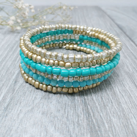 Turquoise, Shiny and Matte Gold Glass Armilla Wrap Bracelet