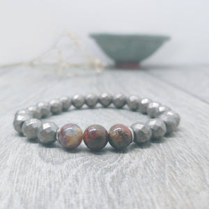 Hematite with Pietersite Affirmation Bracelet -