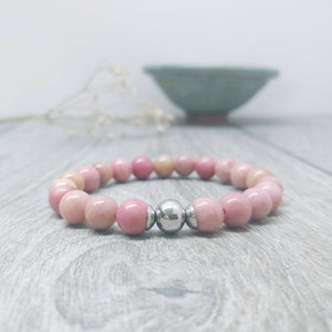 Pale Pink Rhodonite Affirmation Bracelet -