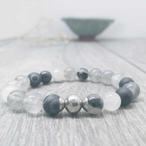 Tourminlated Quartz, Agate and Smoky Quartz Affirmation Bracelet