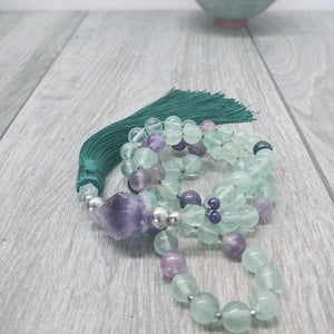 "Mala Style Fluorite and Amethyst and Hematite With Tassel 29.5"" Necklace"