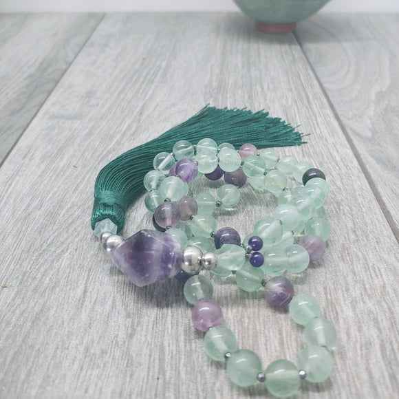 Mala Style Fluorite and Amethyst and Hematite With Tassel 29.5