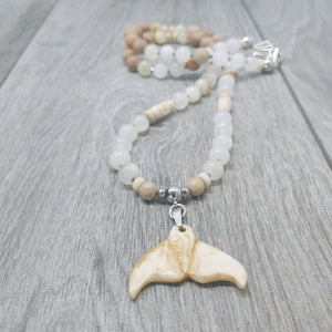 "Mala Style Jade and Picture Jasper With Whale Tail 29.5"" Necklace"