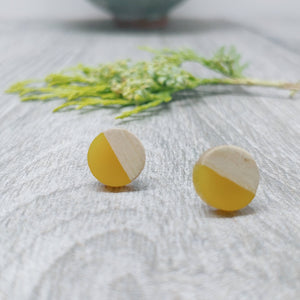 Banana Yellow Resin and Wood Stud Earrings, ROund Studs