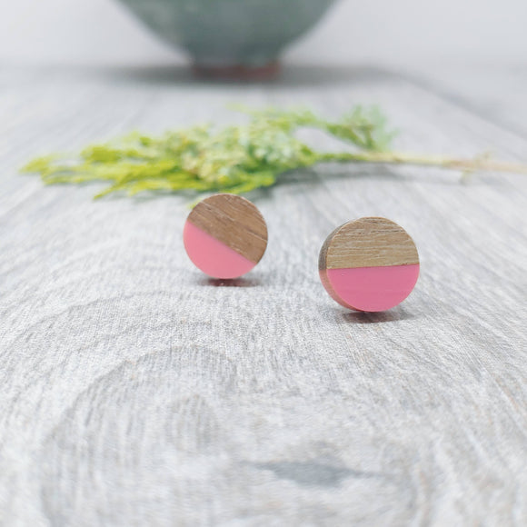 Wood and Bubblegum Resin Colourful Stud Earrings - Round