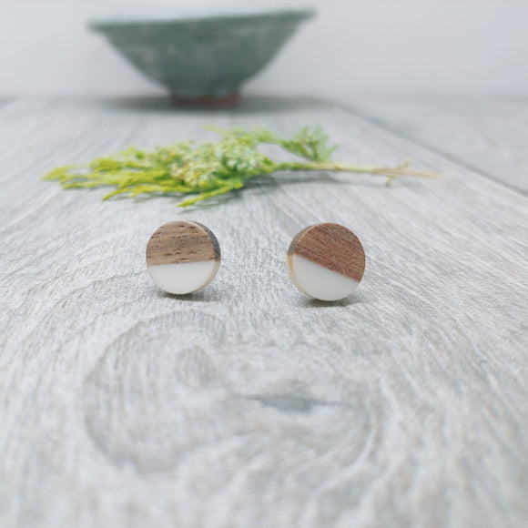 White Wood Resin Stud Earrings