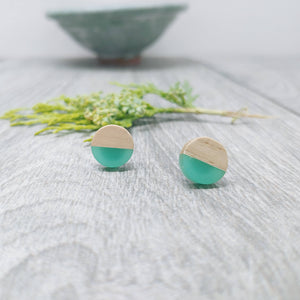 Aquamarine Wood Resin Stud Earrings