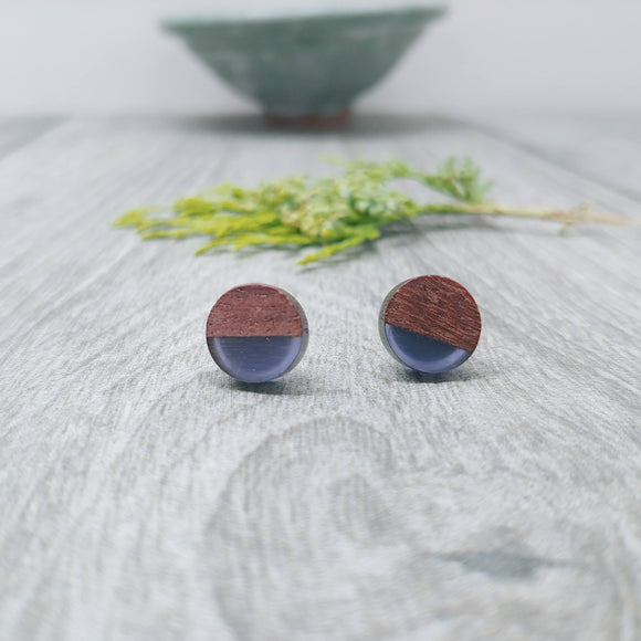 Wood and Violet Resin Colourful Stud Earrings - Round