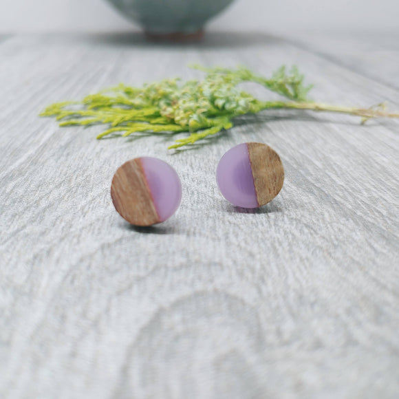 Wood and Lilac Resin Colourful Stud Earrings - Round
