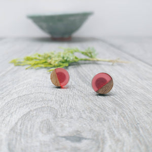 Wood and Clear Hot Pink Resin Colourful Stud Earrings - Round