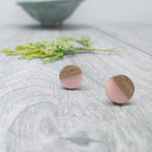 Baby Pink Wood Resin Stud Earrings, Round Studs