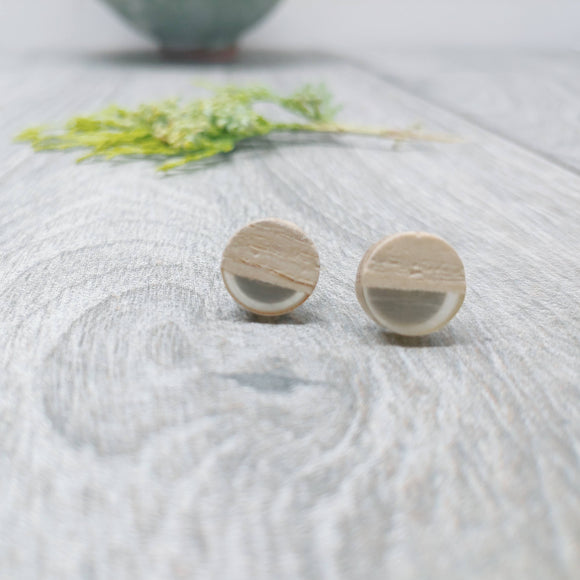 Wood and Smoke Resin Colourful Stud Earrings - Round