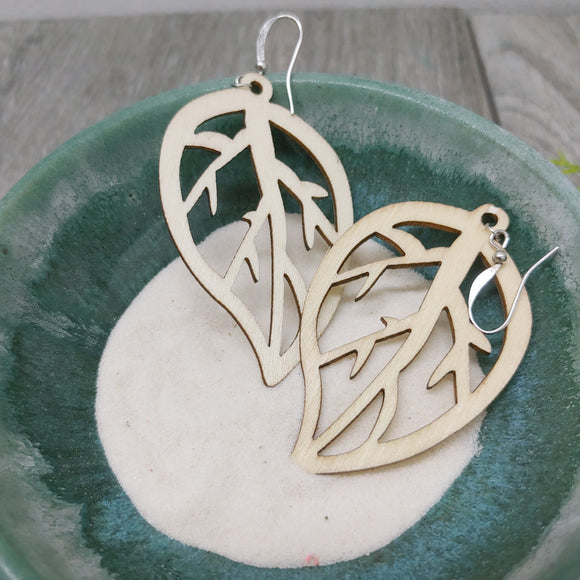 Wooden Leaf Earrings - Dangle Wood Leaf Vein
