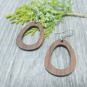 Wood Oval Dangle Earrings