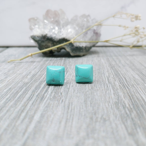 Howlite Turquoise Stud Square Earrings
