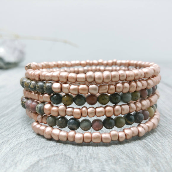 Pale Pink and Jasper Armilla Bracelet