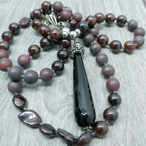 "Mala Style Garnet and Red Jasper With Black Agate teardrop and Skull  29.5"" Necklace"