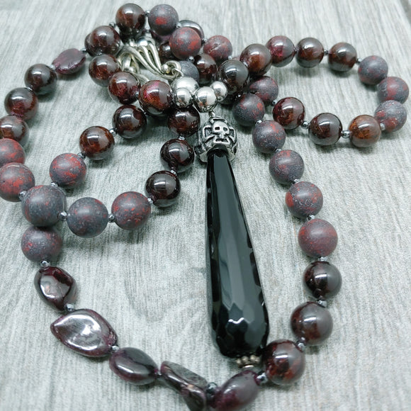 Mala Style Garnet and Red Jasper With Black Agate teardrop and Skull  29.5