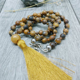 "Mala Style Tigers Eye and Picture Jasper With Tassel 29.5"" Necklace"