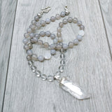 "Mala Style Smoky Quartz, Clear Quartz with Quartz Pendant 29.5"" Necklace"