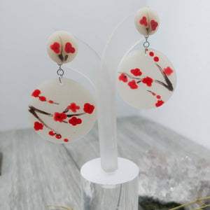 Hand- Painted Cherry Blossom Earrings