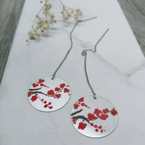 Hand-Painted Cherry Blossom on Aluminum Threader Earrings