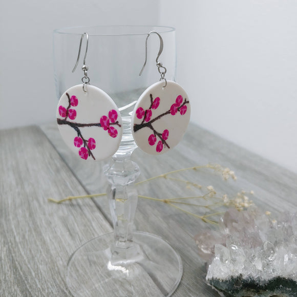 Hand Painted Cherry Blossom Earrings