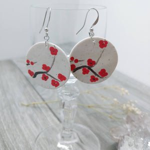 Hand-Painted Cherry Blossom Earrings