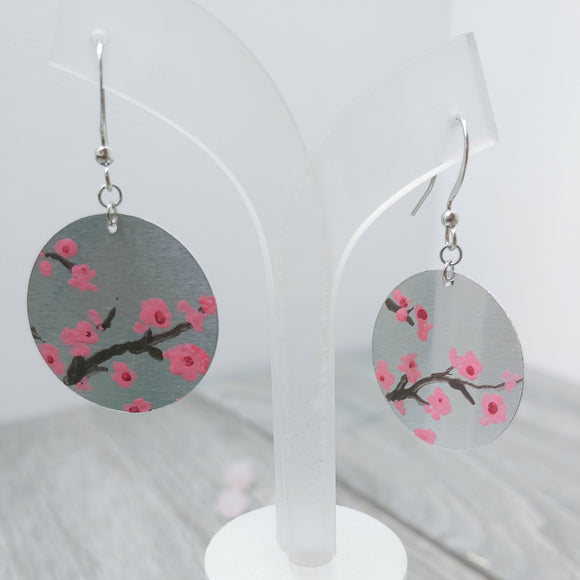 Hand Painted Cherry Blossom on Aluminium Earrings (Double Sided)