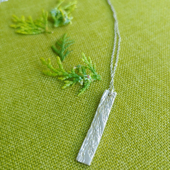 Silver Pendant Necklace, Pressed Cedar Slither in Fine Silver (.999) Sterling Silver Chain
