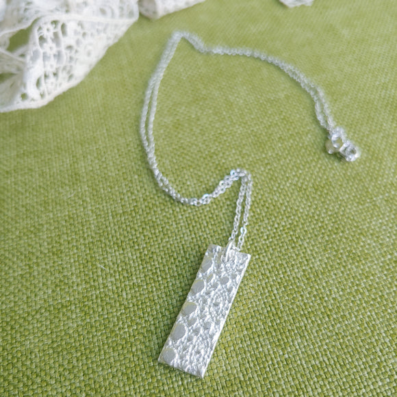 Silver Necklace, Pressed Lace Rectangle Fine Silver, Necklace Sterling Silver Chain