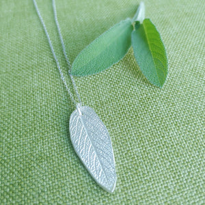 Sage Leaf Necklace in Fine Silver (.999) Silver Necklace Pendant, with Sterling Silver Chain