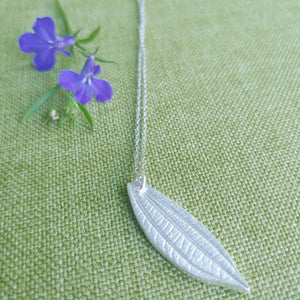 Viburnum Leaf Necklace in Fine Silver (.999) SIlver Leaf Pendant Necklace with Sterling Silver Chain