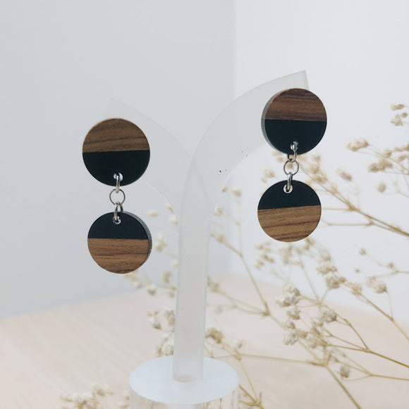 Wood and Black Resin Circle Duo Dangle Earrings