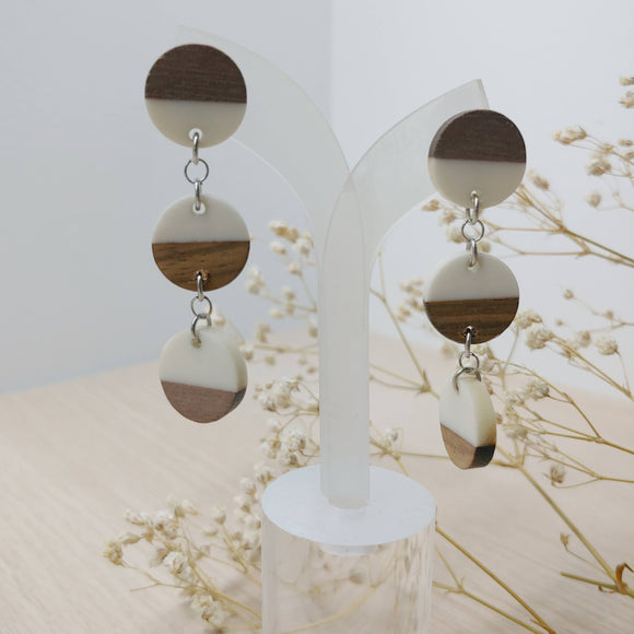 Wood and White Resin Circle Trio Dangle Earrings