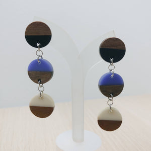 Wood and Multicolour Resin Circle Trio Dangle Earrings