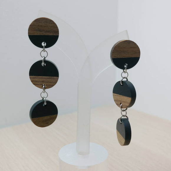 Wood and Black Resin Circle Trio Dangle Earrings