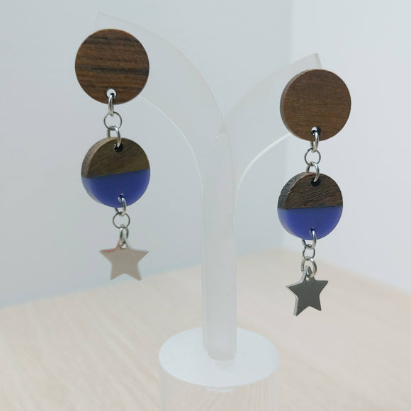 Wood and Lilac Star Resin Circle Trio Dangle Earrings