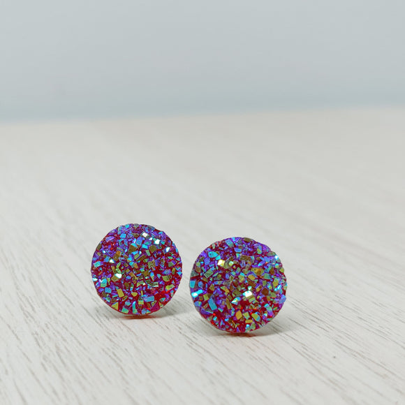 Resin Druzy Effect Studs - Multiple Colours
