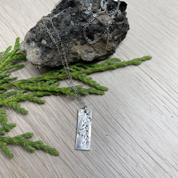 Silver Pendant Necklace, Pressed Cedar Slither Fine Silver (.999) Sterling Silver Chain