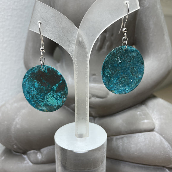 Copper Patina (Vertigris) DIsk Earrings