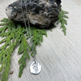 Oval Cedar Pendant in Silver, Silver Necklace Oval Cedar, Token Pendant Fine Silver (.999) Necklace with Sterling Silver Chain