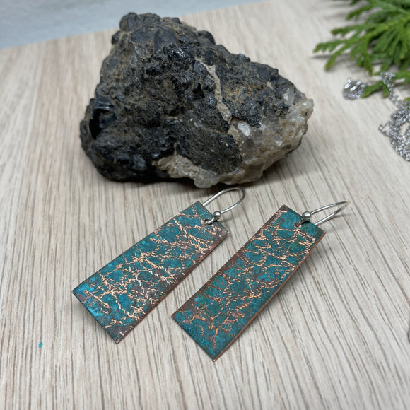 Copper Patina (Vertigris) Earrings with Sterling Silver Fish Hooks